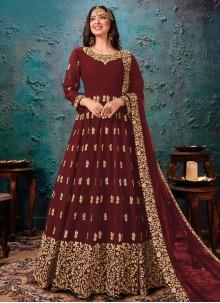 Maroon Faux Georgette Bollywood Salwar Kameez