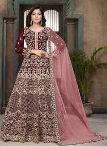 Maroon Faux Georgette Ceremonial Floor Length Anarkali Suit