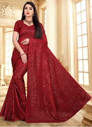 Maroon Faux Georgette Classic Designer Saree