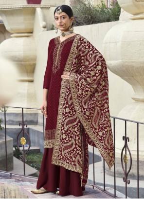 Maroon Faux Georgette Designer Palazzo Salwar Kameez