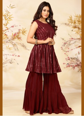 Maroon Faux Georgette Embroidered Readymade Suit