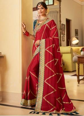 Maroon Festival Crepe Silk Classic Designer Saree