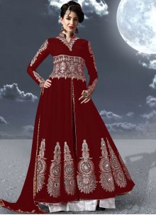 Maroon Festival Floor Length Anarkali Suit