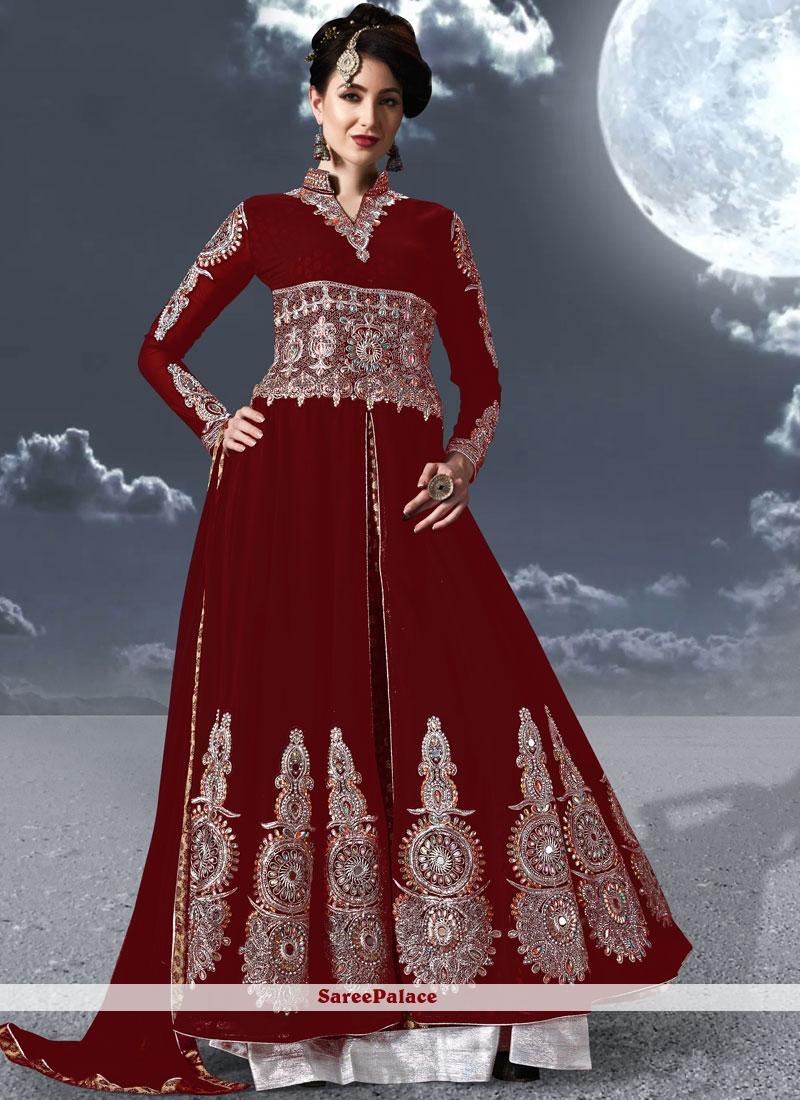 Maroon Festival Floor Length Anarkali Suit