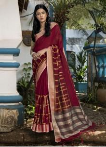 Maroon Festival Linen Traditional Saree