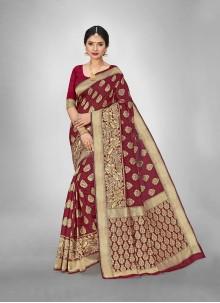 Maroon Festival Silk Weaving Zari Saree