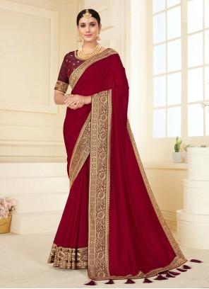 Maroon Festival Vichitra Silk Classic Designer Saree
