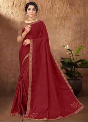Maroon Festival Vichitra Silk Traditional Saree