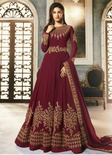 Maroon Floor Length Anarkali Suit