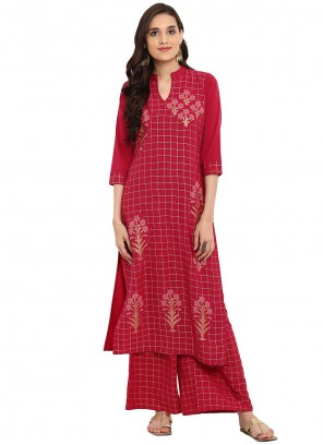Maroon Foil Print Crepe Silk Readymade Salwar Kameez