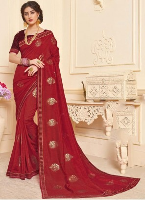 Maroon Foil print Sangeet Trendy Saree