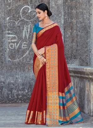 Maroon Handloom Cotton Ceremonial Classic Designer Saree