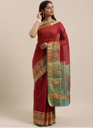 Maroon Handloom Cotton Traditional Saree