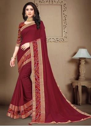Maroon Lace Silk Traditional Saree