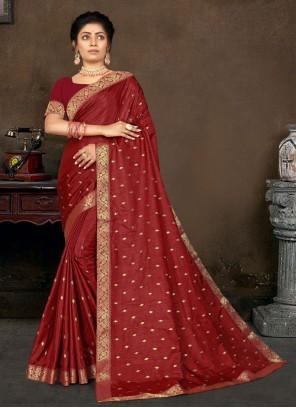 Maroon Lace Vichitra Silk Designer Traditional Saree