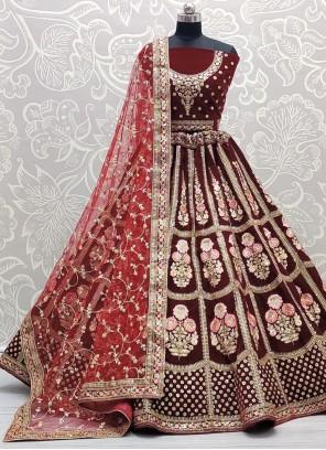 Maroon Embroidered Lehenga Choli