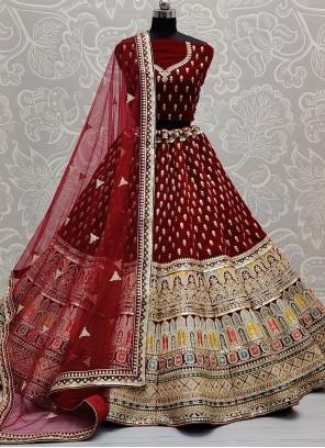 Maroon Embroidered Sequins Lehenga Choli
