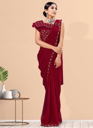 Maroon Lycra Fancy Designer Saree