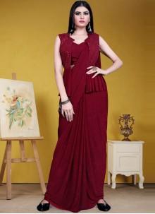 Maroon Lycra Sequins Designer Saree