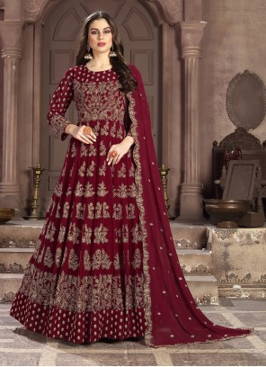 Maroon Mehndi Anarkali Salwar Suit