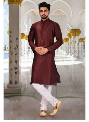 Maroon Mehndi Art Dupion Silk Kurta Pyjama