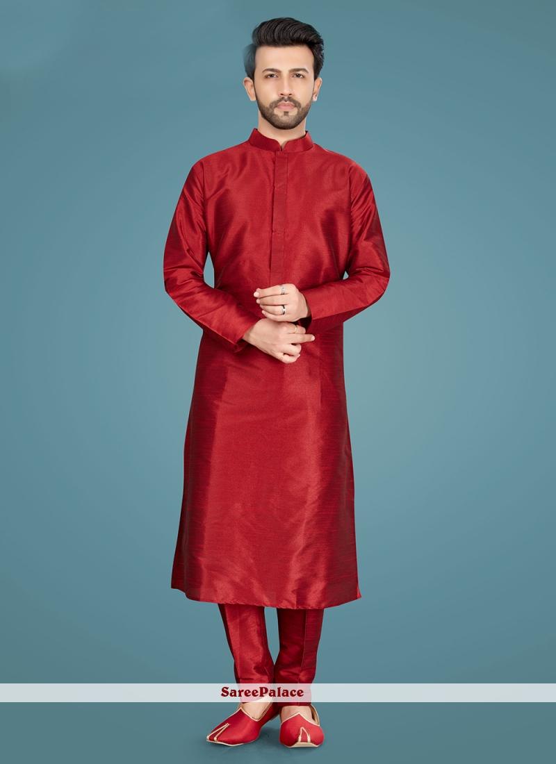 Maroon Mehndi Art Silk Kurta Pyjama