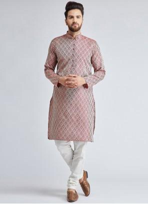 Maroon Mehndi Jacquard Silk Kurta Pyjama