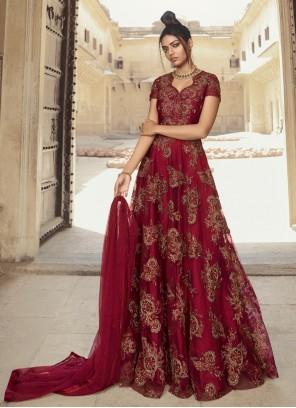 Maroon Net Stone Designer Gown