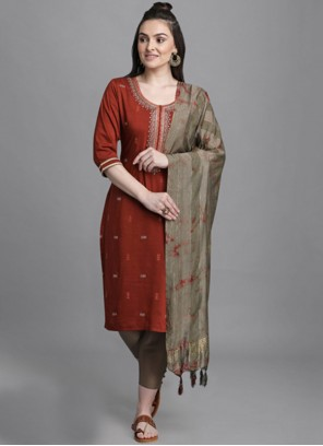 Maroon Faux Chiffon Embroidered Pant Style Suit