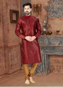 Maroon Party Art Dupion Silk Kurta Pyjama