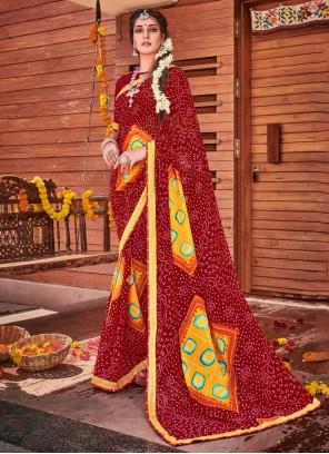 Maroon Embroidered Party Bandhani Saree