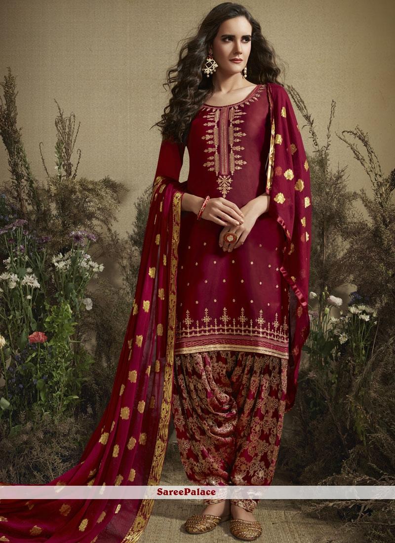 Maroon Party Designer Patiala Suit