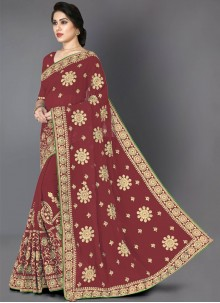 Maroon Party Faux Georgette Classic Saree