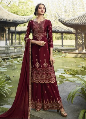 Maroon Party Georgette Designer Palazzo Salwar Suit