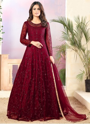 Maroon Party Net Trendy Salwar Suit