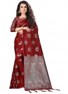 Maroon Party Traditional Designer Saree