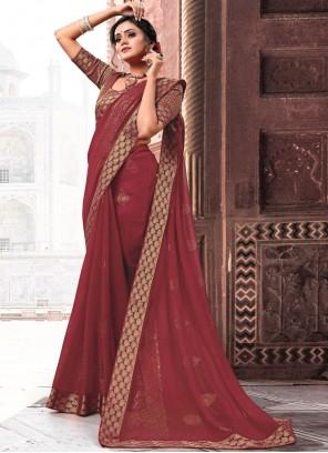 Maroon Patch Border Ceremonial Classic Designer Saree