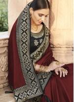 Maroon Patch Border Silk Designer Traditional Saree