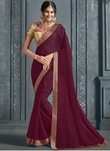 Maroon Patch Border Traditional Saree