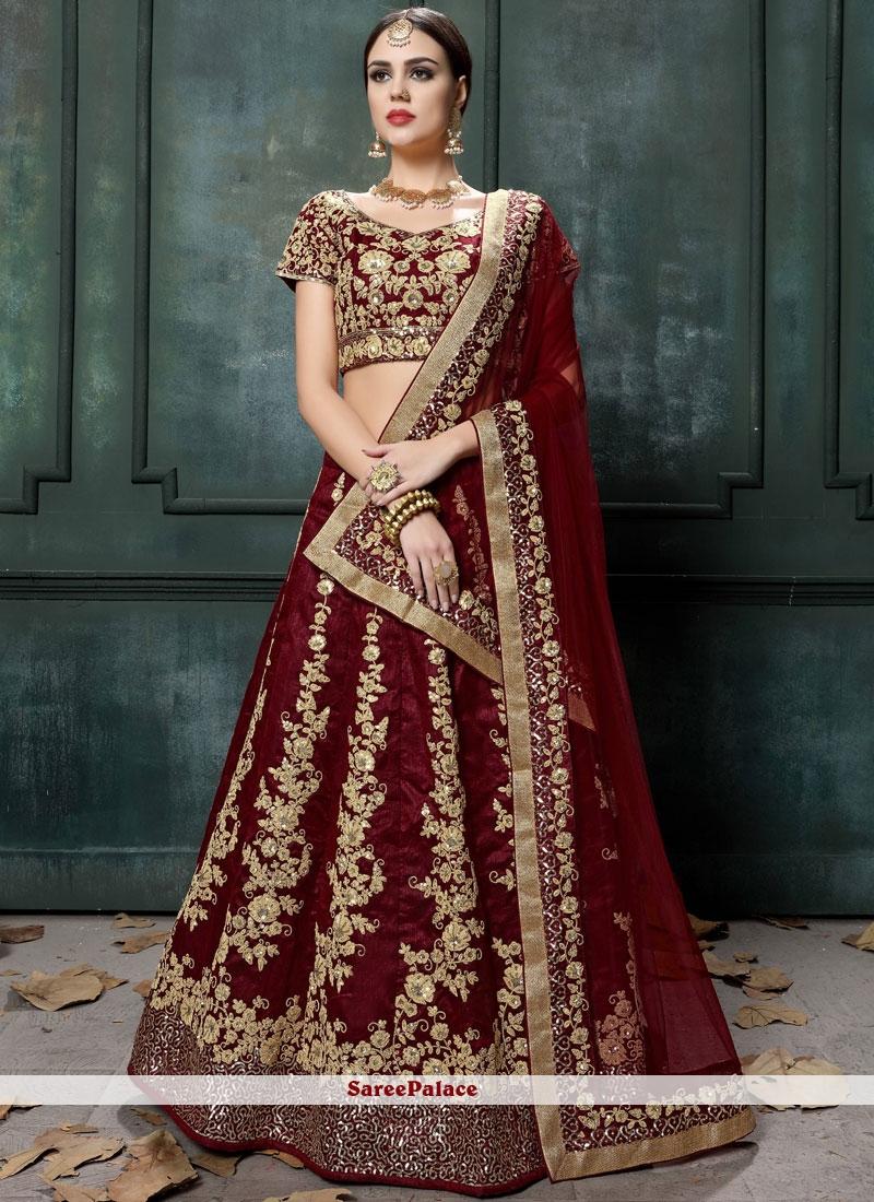 84fb08d40c Buy Maroon Patch Border Wedding Lehenga Choli Online