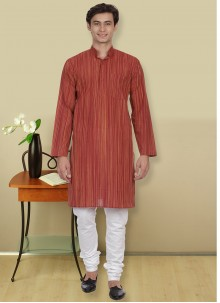 Maroon Plain Cotton Kurta Pyjama