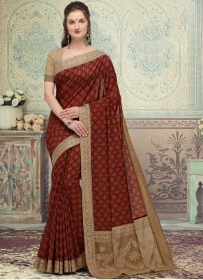 Maroon Printed Silk Traditional Saree