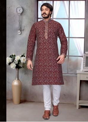 Maroon Printed Jacquard Silk Kurta Pyjama