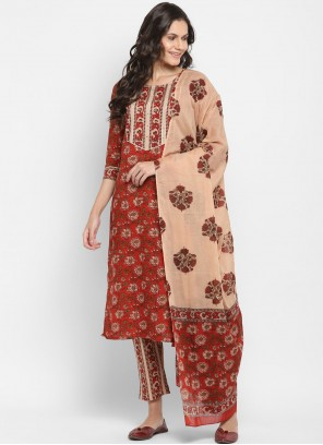 Maroon Printed Readymade Suit