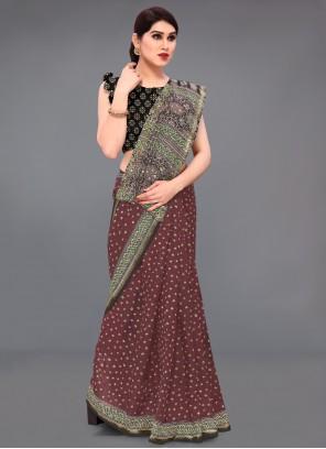 Maroon Printed Saree