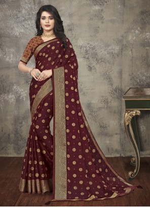 Maroon Silk Printed Saree