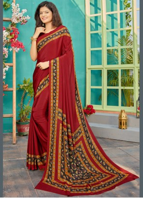 Maroon Printed Trendy Saree