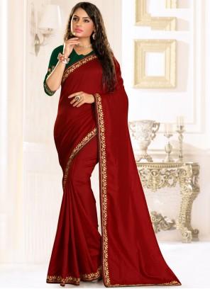 Maroon Raw Silk Embroidered Traditional Designer Saree