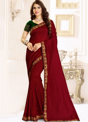 Maroon Raw Silk Engagement Classic Designer Saree