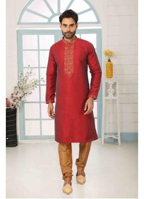 Maroon Reception Art Banarasi Silk Kurta Pyjama